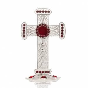 Reliquiario croce filigrana argento 800 strass h 11 cm s1