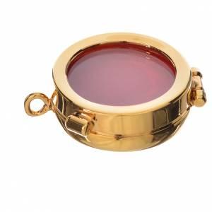 Reliquiario ottone dorato diam. 3,5 cm s1
