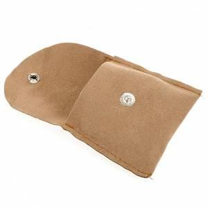 Hostiendosen und Hostienbehälter: Reliquiarsetui Veloursledertasche weich beige