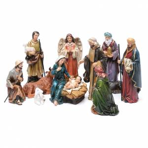 Resin and Fabric nativity scene sets: Resin nativity scene set of 12 pieces sized 20 cm