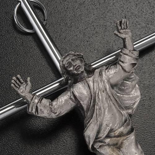 Resurrected Christ, silver metal wall crucifix s2