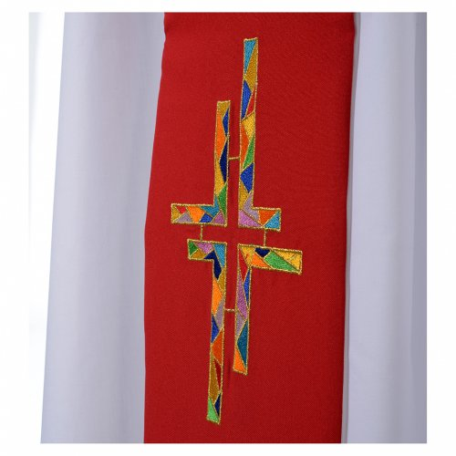 Reversible overlay stole white red, multicolor cross s3