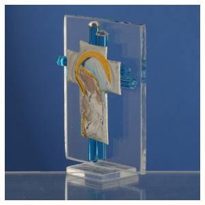 Ricordino Nascita Croce vetro Murano acquamarina e Arg. h. 8 cm s3