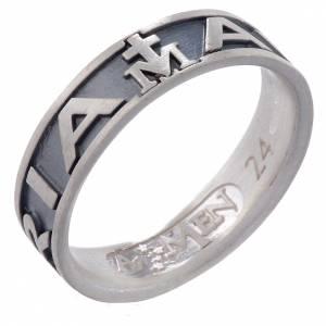 Gebetsringe: Ring AMEN Ave Maria getönten Silber 925