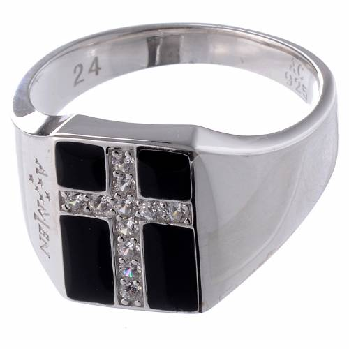 Ring AMEN Chevalier silver 925, Rhodium finish s2