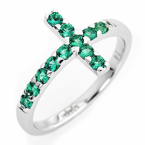 Ring AMEN Cross white silver 925, green zircons s1