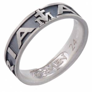 Ring AMEN Hail Mary silver 925, Burnished finish s1