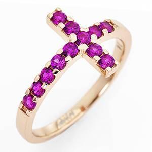 Gebetsringe: Ring AMEN rosa Silber 925 Kreuz mit violetten Zirkonen