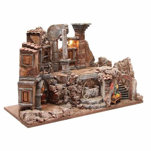 Roman set illuminated nativity with fountain and desk 40x65x30cm s3
