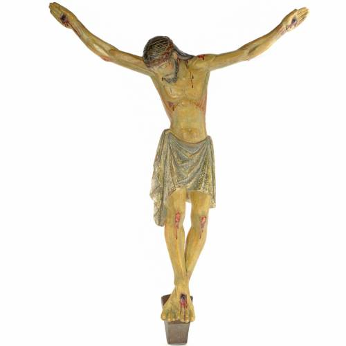 Romanesque body of Christ in wood paste, antique decorations 100 s1