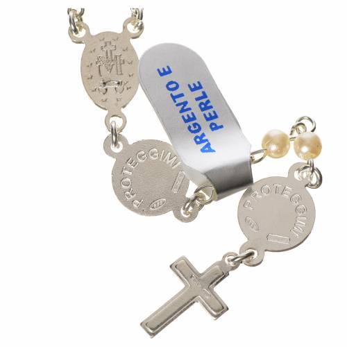 Rosario argento 800 perle angelo custode s2