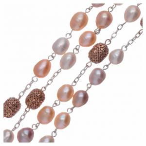 Rosario argento 925 perle fiume 7 mm ovali pater color rosé 7 mm s3