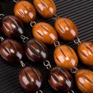 Rosario capoletto legno grano ovale inciso 25 mm s4