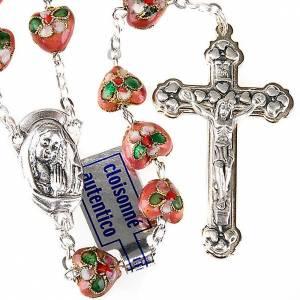 Rosari cloisonnè: STOCK Rosario cloisonnè cuore rosa 10 mm