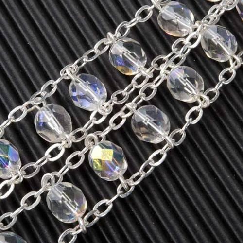 STOCK Rosario cristallo ovale aurora boreale doppia catena 8 mm s5
