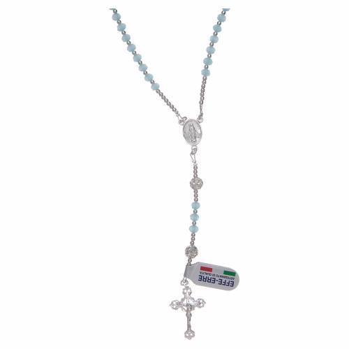 Rosario da collo in cristallo celeste in argento 800 s1