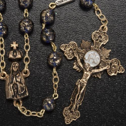 Rosario Ghirelli Madonna di Fatima vetro blu oro 6 mm s2