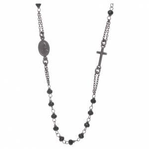 Rosario girocollo AMEN cristalli e argento 925 brunito s2