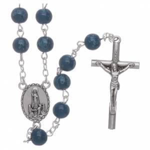 Rosari vetro: Rosario Madonna di Fatima grani vetro blu agata con scatola