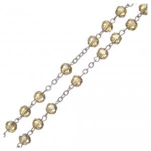 Rosario in cristallo oro e metallo ossidato s3