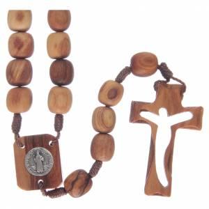 Rosario in legno di ulivo e croce intagliata s1