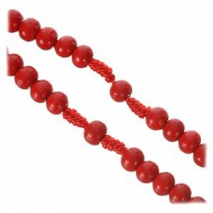 Rosario in legno rosso 7 mm legatura seta s2
