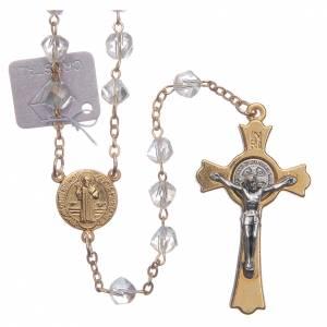 Rosarios y Porta Rosarios Medjugorje: Rosario Medjugorje cristal transparente cruz dorada