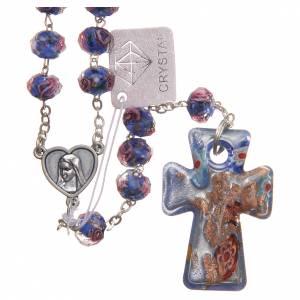 Rosarios y Porta Rosarios Medjugorje: Rosario Medjugorje cruz vidrio Murano azul claro