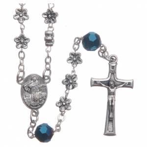 Rosarios y Porta Rosarios Medjugorje: Rosario Medjugorje flores y cristales azul