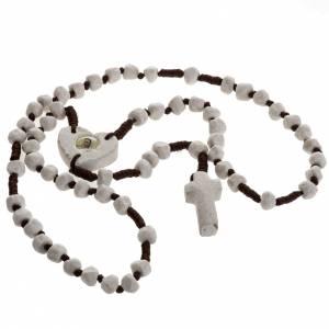 Rosario Medjugorje piedra y cuerda marrón, corazón s2