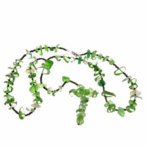Rosario Medjugorje pietra dura verde trasparente s3