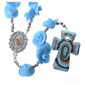 Rosarios y Porta Rosarios Medjugorje: Rosario Medjugorje rosas celestes cruz vidrio Murano