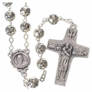 Rosarios metal: Rosario Papa Francisco con rositas de metal plateado