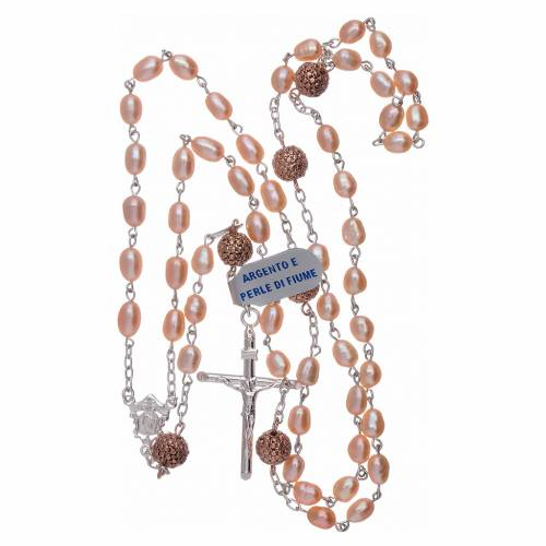 Rosario perle fiume 4 mm ovali con pater argento 925 color rosé s4