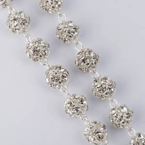 Rosari argento: Rosario Strassball bianco arg. 800 grani 8mm