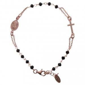 Rosary AMEN Bracelet silver 925 black crystals, Rosè finish s1
