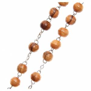 Rosary beads in Holy Land olive tree wood with soil s3