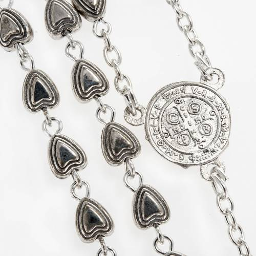 Rosary beads in silver metal with hearts, 6mm s2