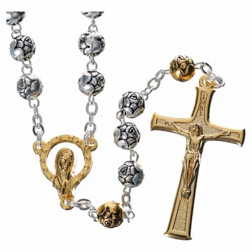 Rosary beads in silver metal with roses s1