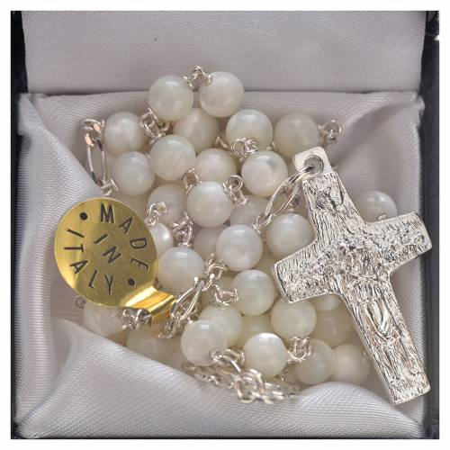 Rosary beads in sterling silver and mother-of-pearl, Pope Franci s5