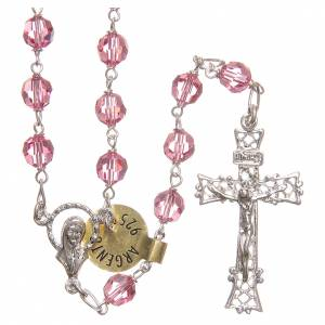 Rosary beads in Swarovski and golden sterling silver 6mm pink s1