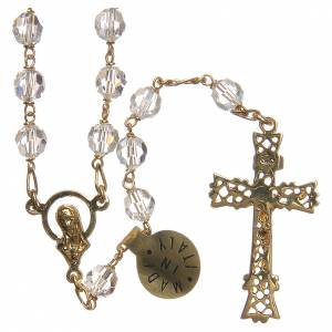 Rosary beads in Swarovski and golden sterling silver 6mm white s2