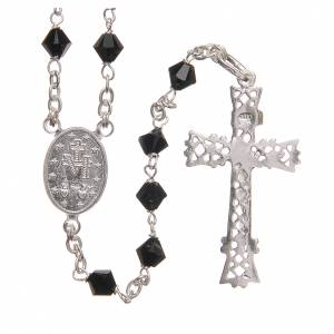 Silver rosaries: Rosary beads in Swarovski and sterling silver 6mm black
