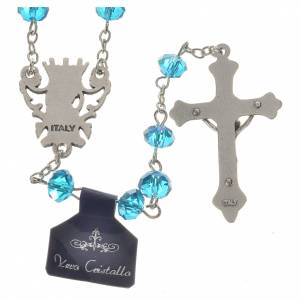 Rosary beads with crystal and porcelain 8x6mm aquamarine s2