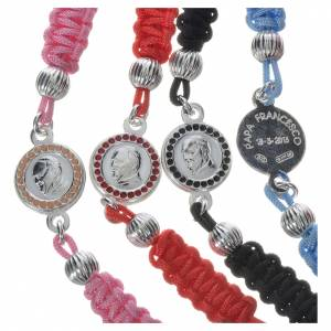 Rosary bracelet with Pope Francis medal in 800 silver, cord s3