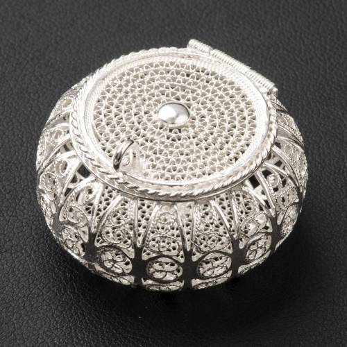 Rosary case, round in 800 silver filigree s2