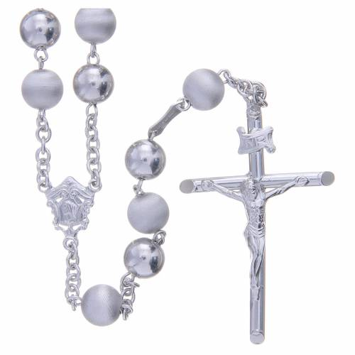 Rosary in 800 silver with 8mm velvety and smooth grains s1