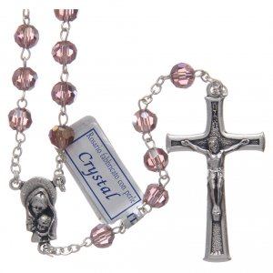 Rosary in amethyst crystal and oxidised metal s1