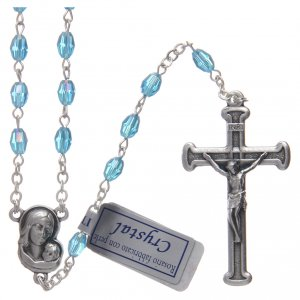 Rosary in aqua green crystal with cross and center piece in oxidised metal s1