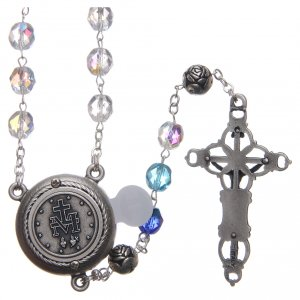 Rosary in crystal with blue shade, talking center piece ITALIAN 8 mm s2